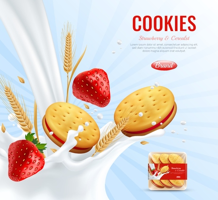 Cookies with strawberry jam layer advertising composition decorated by wheat ears and creamy spray realistic vector illustration