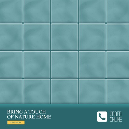 Realistic ceramic floor tiles background with bring a touch of nature home tagline of manufacturer vector illustration