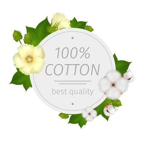 Cotton flower realistic round composition with best quality description and flowers around vector illustration