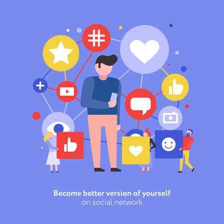 Social media communication information sharing internet network symbols flat composition with male user holding smartphone vector illustration 矢量图像