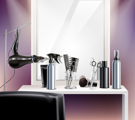 Hairdress tools for composition with mirror hair dryer and scissors realistic vector illustration