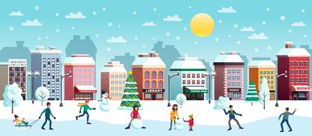 L'insegna orizzontale piana del paesaggio nevoso della città di vacanze invernali con le palle di neve del pupazzo di neve dell'albero di Natale combatte gli edifici illustrazione vettoriale Vettoriali
