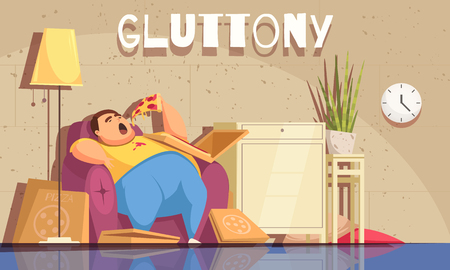 Gluttony background with obsessive eating and overweight symbols flat vector illustration