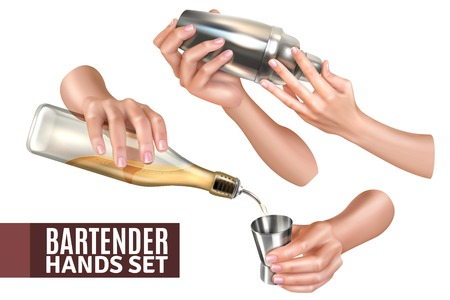 Bartender hands pouring and mixing cocktails realistic set isolated on white background vector illustration Ilustrace