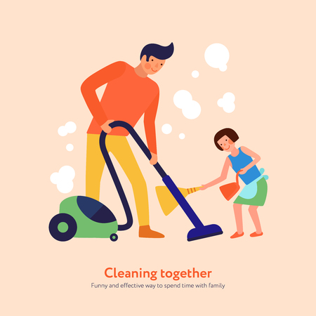 Father with vacuum cleaner and daughter with broom and dustpan during home cleaning together vector illustration