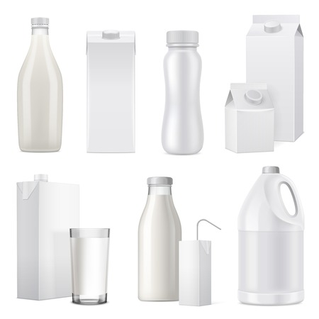 Isolated white realistic milk bottle package icon set from glass plastic and paper vector illustration Çizim