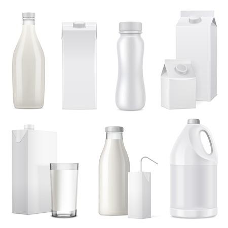 Isoliertes weißes realistisches Milchflaschenpaket-Icon-Set aus Glaskunststoff und Papiervektorillustration