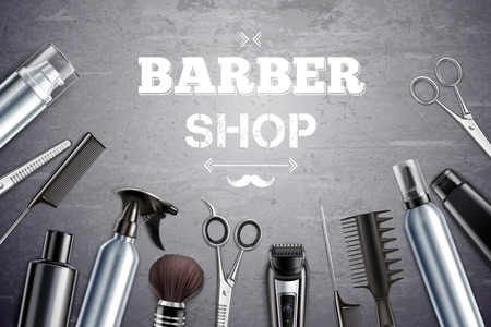 Barber shop hair styling tools supplies set realistic monochrome top view with shaving brush background vector illustration