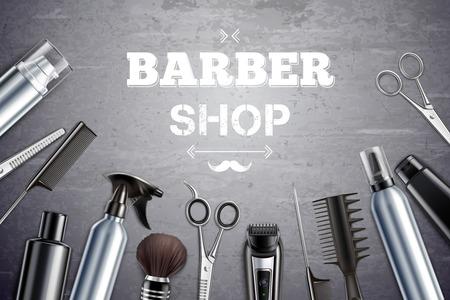 Gli strumenti per lo styling dei capelli del negozio di barbiere forniscono una vista dall'alto monocromatica realistica con l'illustrazione di vettore del fondo del pennello da barba Vettoriali