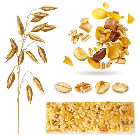 Ensemble de muesli réaliste d'images isolées avec des haricots de plantes céréalières et illustration vectorielle de mélange de granola pour le petit-déjeuner
