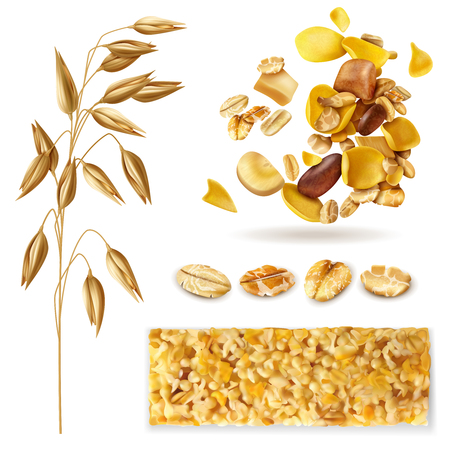 Realistic muesli set of isolated images with cereal plant beans and ready breakfast granola mix vector illustration
