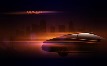 High speed race hatchback car trailing lights motion effect realistic composition in night city street vector illustration Ilustracja