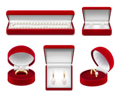 Conjunto de joyas realistas de oro con perlas y gemas en cajas rojas aisladas ilustración vectorial
