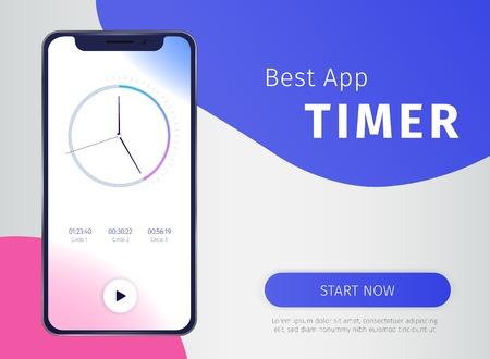Timer app poster with digital mobile  technology symbols realistic vector illustration 写真素材 - 112468398