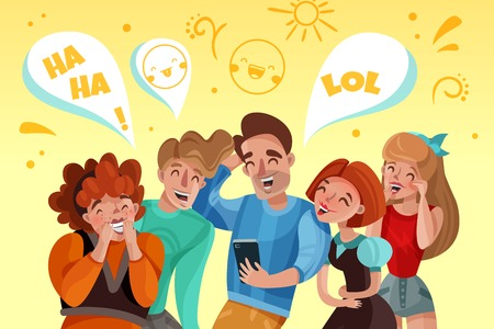 Group of people watching funny video and laughing cartoon vector illustration Ilustração