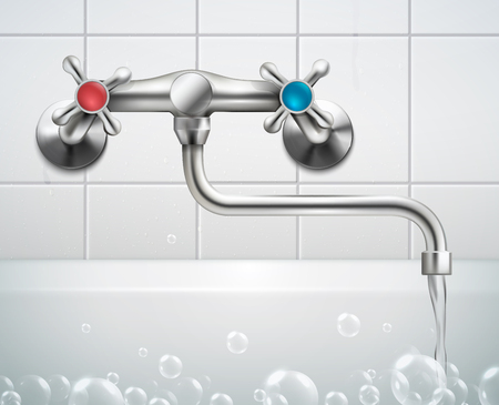 Faucet realistic composition with view of bathroom wall faced with tiles foam bubbles and metal faucet vector illustration