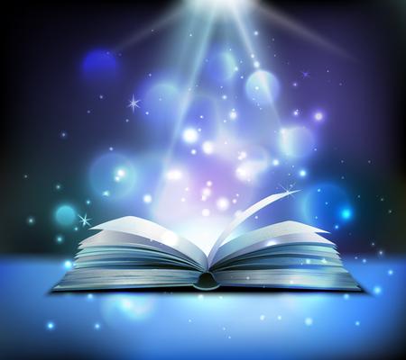 Imagen realista de libro mágico abierto con rayos de luz brillantes y brillantes que iluminan páginas bolas flotantes fondo oscuro ilustración vectorial