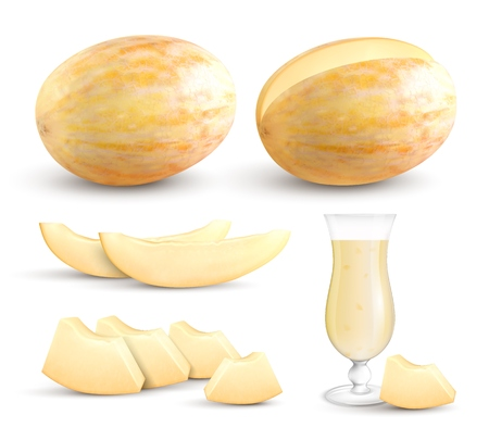 Ripe fresh yellow meloen whole segments bite sized pieces and juice realistic closeup images collection vector illustration