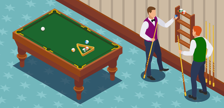 Billiards isometric composition with two male human characters of players in the playing room with furniture vector illustration