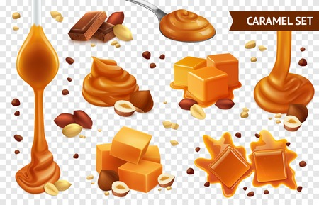 Realistic caramel chocolate nut icon set with different shapes taste and condition vector illustration