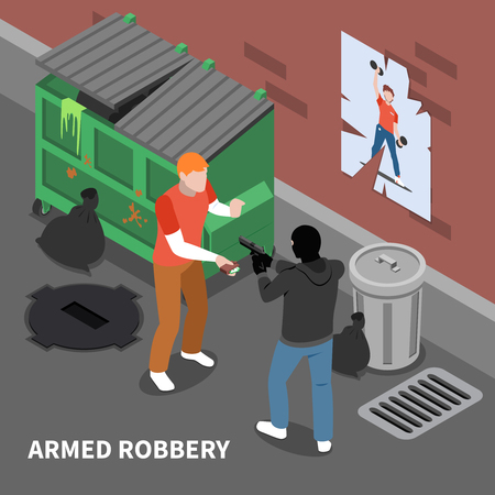Armed thief in disguise during robbery of man with full wallet isometric composition vector illustration