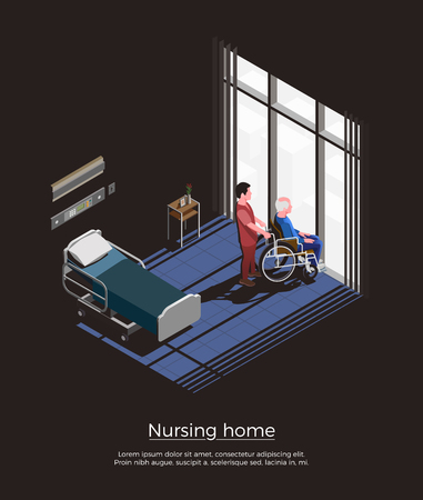 Nursing home isometric composition with elderly man sitting on wheelchair and his caretaker in room interior vector illustration