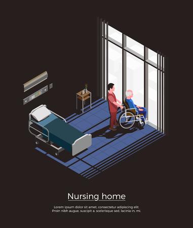 Verpleeghuis isometrische compositie met oudere man zittend op een rolstoel en zijn verzorger in kamer interieur vectorillustratie