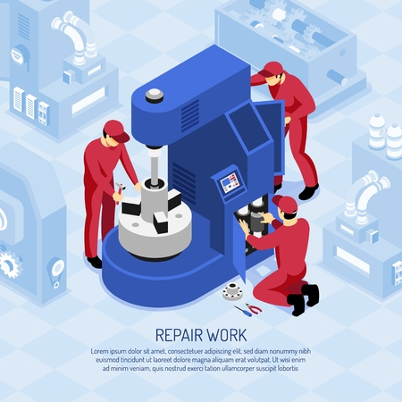 Mechanics in red uniforms during repair work at machine tool in shop isometric vector illustration