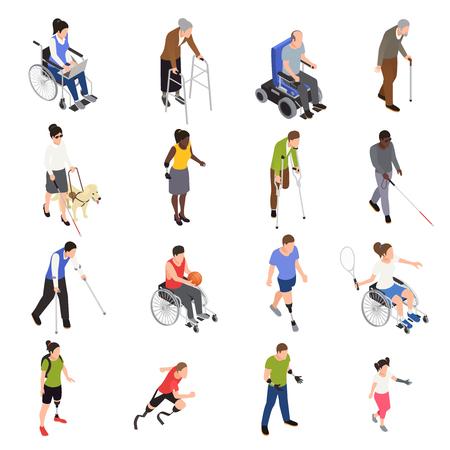 Isometrische Symbole für behinderte und verletzte Menschen im Freien, die mit sportlichen Gliedmaßenamputierten eingestellt sind, die sich mit Rollstuhlvektorillustration bewegen Vektorgrafik