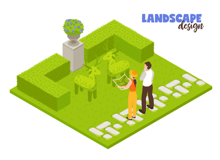 Landscape design concept with green fence and gardeners working isometric vector illustration Illustration