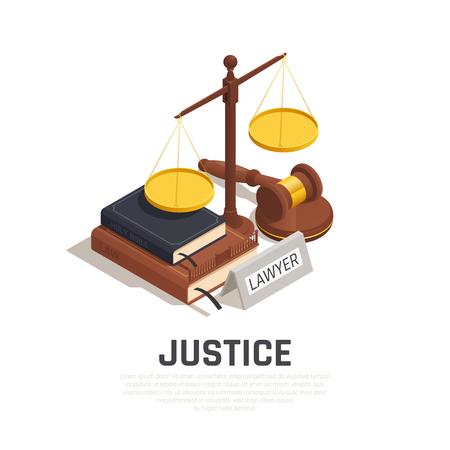 Skład izometryczny prawa z biblią książki kodu prawnego młotka i ilustracji wektorowych symbolu sprawiedliwości w skali