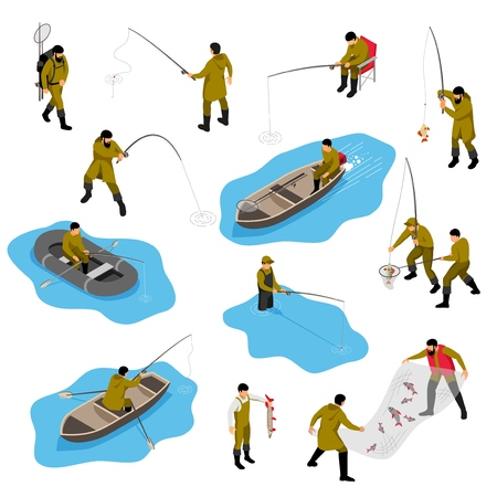 Isometric fisherman set with isolated human characters of piscators in different situations with boats and tackle vector illustration