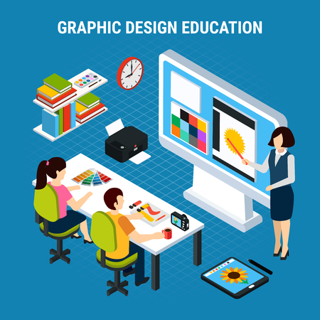 Graphic design education process in classroom with two students 3d isometric vector illustration Illustration