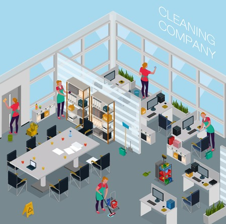 Employees of cleaning service with professional equipment during work in office isometric vector illustration