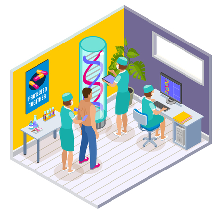 Vaccination isometric indoor composition with clinic surgery room interior elements and patient being vaccinated by doctors vector illustration