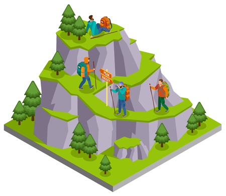 Hiking isometric composition with wild mountain panoramic image with walking paths and human characters of campers vector illustration