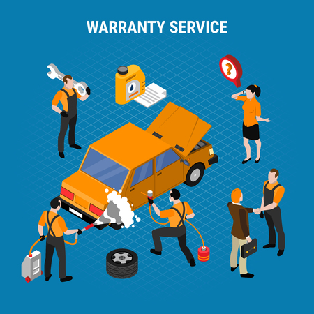 Warranty service isometric concept with work and tools symbols vector illustration Banque d'images - 112468451