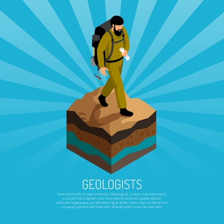 Geologist field work isometric poster with man in canvas uniform with backpack on soil sample vector illustration