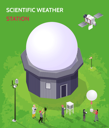 Colored isometric meteorological weather center composition with scientific weather station description vector illustration 向量圖像