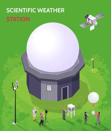Farbige isometrische meteorologische Wetterzentrumszusammensetzung mit wissenschaftlicher Wetterstationsbeschreibungsvektorillustration