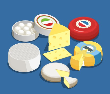 Cheese assortment isometric design concept set of mozzarella maasdam brie and other sorts of cheese vector illustration