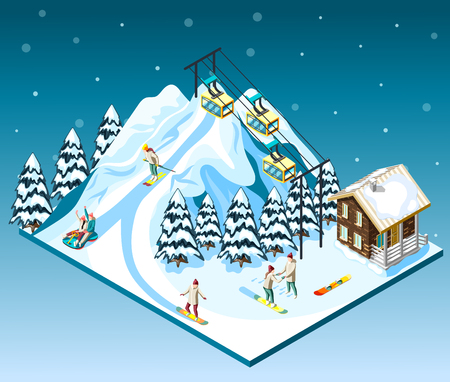 Ski resort isometric composition visitors on mountain slope house and funicular blue background with snow vector illustration Illustration