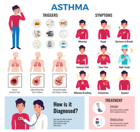 La raccolta di elementi infografici piatti per la malattia cronica di asma con sintomi di innesco provoca la diagnosi di farmaci e illustrazione vettoriale di trattamento