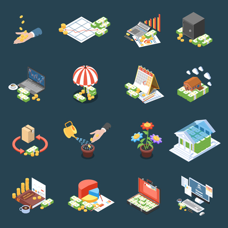 Wealth management isometric icons with financial statistics and operations net profit on dark background isolated vector illustration