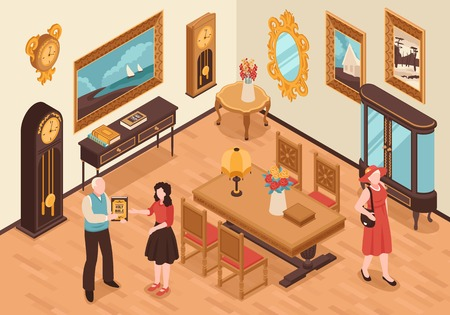 Antiquarian shop isometric interior with vintage furniture visitors and seller showing ancient book vector illustration