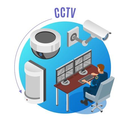 Sicherheitssystem CCTV-Kameras Bewegungssensoren Beobachtungsüberwachungsgeräte Betreiber isometrische Zusammensetzung blaue runde Hintergrundvektorillustration Vektorgrafik