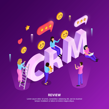 CRM customer review with ranking and loyalty elements on purple background with typographic lettering isometric vector illustration