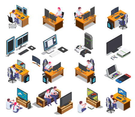 Gaming development isometric set of developers at computer screens and gamers playing video game using  joystick isolated vector illustration 矢量图像