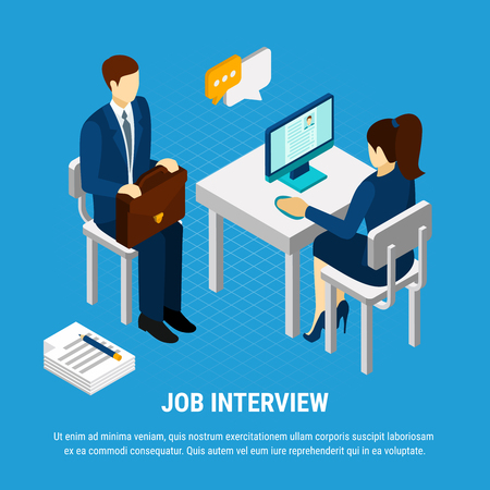 Business people isometric background with human characters of recruitment consultant and job candidate with editable text vector illustration Çizim