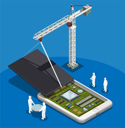 Semiconductor abstract composition with people in special work suits engaged in assembling of smartphone isometric vector illustration